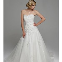 Tull a-line strapless sweetheart sweep train white wedding dresses BAHD0040