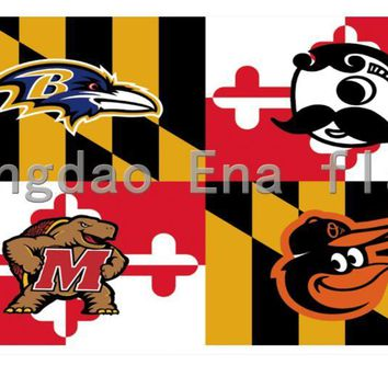 3x5ft Baltimore Ravens Baltimore Orioles Natty Boh Maryland Terrapins Flag Custom