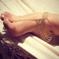 Gold Multi-chain Anklet with Toe Ring