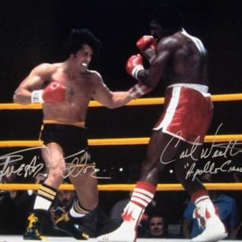 CREYONY Sylvester Stallone & Carl Weathers Signed Autographed 'Rocky' Glossy 16x20 Photo (ASI COA)