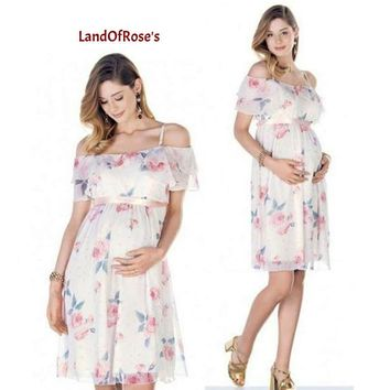 Chiffon Maternity Dress Off Shoulder  For Photo Shoot