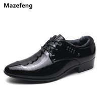 Mazefeng Winter Shoes Men Leather Dress Shoes With velvet Business Shoes Keep Warm High quality Male Leather Shoes Men Flat