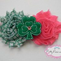 St. Patrick's Day Headband, Shamrock Headband, St. Patty's Headband, Pink St. Patrick's Headband, Green and Pink Headband, Pink Shamrock