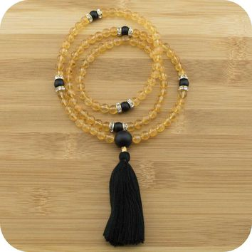 Citrine Mala with Matte Black Onyx