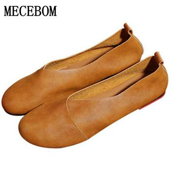 2018 Genuine Leather Flat Shoes Woman Hand Leather Loafers Cowhide Flexible Spring Casual Shoes Women Flats Women Shoes 0221W