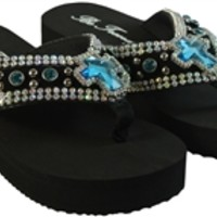 Bling Flip Flops Wedge Platform Sandals with Rhinestones and Cross- Available in Different Colors and Sizes