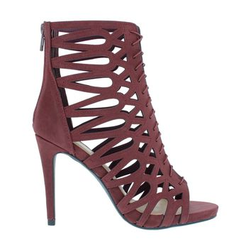 Strappy Caged Heel Sandal (BURGUNDY)
