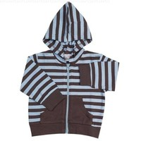 Elegant Baby Chocolate w/ blue dots hooded jacket, small 0-6 months