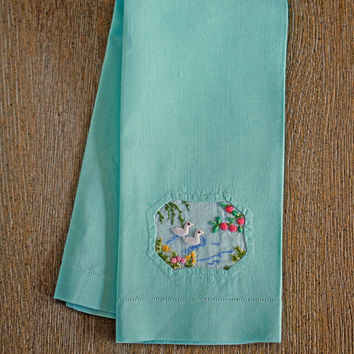 Linen Hand Towel Mint Green Embroidered and Appliqued Duck Pond Scene Pink Fine Pure Linen Kitchen Tea Cloth