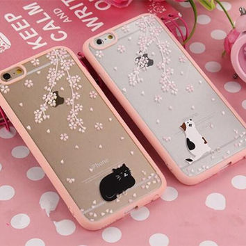 Fashion cherry blossom pink phone Case  for iphone 5 5s SE 6 6S 6plus 6s plus
