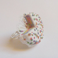 Scented or Unscented Rainbow Sprinkles Cake Miniature Food Ring - Miniature Food Jewelry