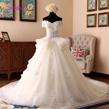 Melice Romantic Sweetheart Beaded Pearls A-Line Wedding Dress 2017 Appliques Chapel Train Bridal Dress Robe De Mariage Plus Size