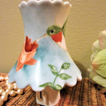 Night Light Lighting Lamp shade Humming Bird Hand Painted Porcelain Ceramic blm