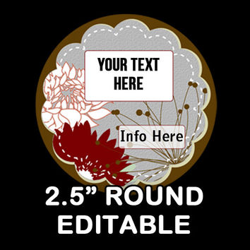 "Marsh ""EDITABLE"" ROUND STICKER 2.5 Inches   - Soap labels - Lotion Labels - Body Butter Labels - Product Labels Editable - Scrapbooking"