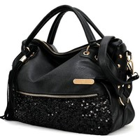 World Trip Women Handbag Shoulder Bags Tote Purse PU Leather Women Messenger Hobo Bag (Black Sequins)