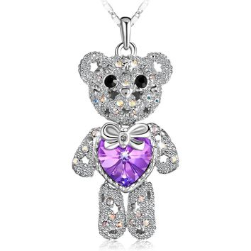 PLATO Lovely Cute Animal Bear Pendant Necklace Love Heart Bear Necklace Teddy Bear Charm Pendant Necklace With Swarovski Crystal, Purple Heart