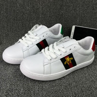 GUCCI Woman Fashion Little Bee Embroidery Flats Shoes Sneakers Sport Shoes