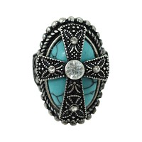Western Cowgirl Aztec Turquoise Cross Chunky Fashion Cocktail Ring