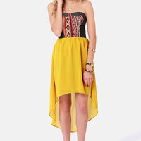 Song of the Southwest Yellow High-Low Strapless Dress