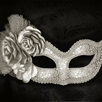 Metallic Silver Masquerade Mask With Fabric Roses -   Lace Covered Venetian Style Silver Masquerade Ball Mask With Flowers