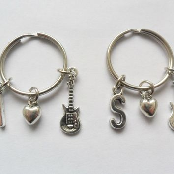 One initial guitar and tiny love heart keyring, best friend keychain, bff   eBay