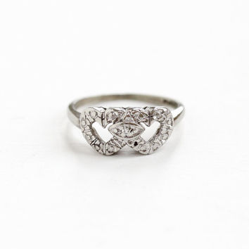 Vintage 10k White Gold Double Heart Diamond Ring - 1940s Size 6 1/4 Engagement Wedding Promise Fine Romantic Love Intertwined Jewelry