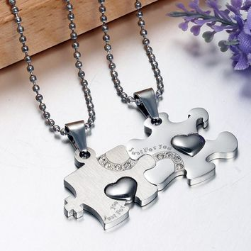 "His & Hers 2PCS ""Just For You"" Stainless Steel Puzzle Matching Couples Pendant Necklace Engagement Heart Love Gift"