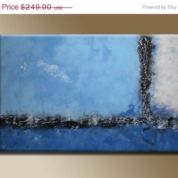 ON SALE 32 inch Original Abstract Textured Acrylic Painting Blue Gray Black on Canvas Home Wall Decor