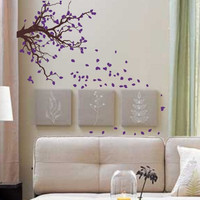 Autumn Tree Branch with Falling Leaves Decal Sticker Wall Art Graphic Nature Cute Seasons