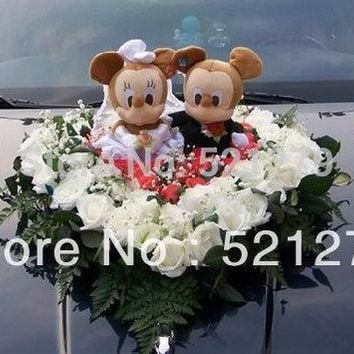 Free shipping 1couple 24cm stuffed Mickey and Minnie Mouse plush soft toys doll 1 couple,Mickey and Minnie toys for wedding