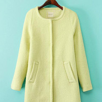 Light Yellow Long Sleeve Woolen Coat