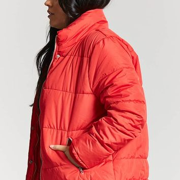 Plus Size Zip-Up Puffer Jacket