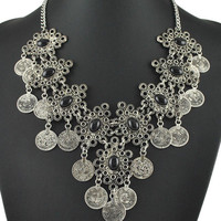 Silver Boho Coin Drop Rhinestone Necklace
