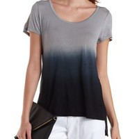Black Combo Dip-Dye High-Low Tee by Charlotte Russe