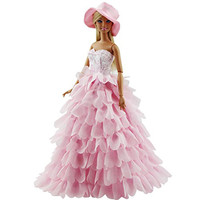 Princess Evening Party Clothes Wears Dress Outfit Set for Barbie Doll with Hat Great Christmas Gift Girls Dress for Barbie Doll