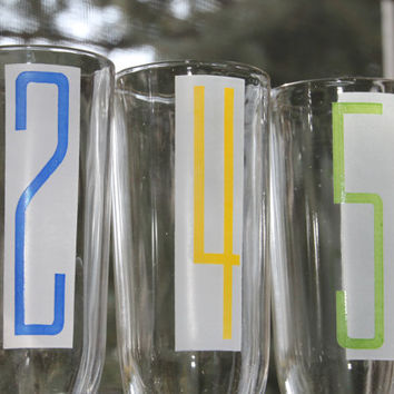 Vintage 70s Glasses with Bright Numbers FUN FUN FUN Set of 6