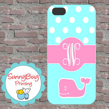 Tiffany Blue and Pink Polka Dot Vineyard Vine Custom Monogram Phone case! iPhone 4, 5, and Galaxy 3!