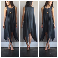 Asymmetrical Flow Dress in Grey