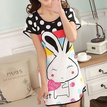 Women Sexy Nightgowns Cartoon polka dot rabbit one Size Sleep Dress Nightwear Silk Ladies Home Dress Summer Style