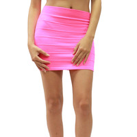 New Solid Color Knit Stretch Pull Up Fitted Pencil Mini Skirt Size S M L HRA4265