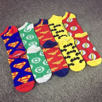 new super hero series Harajuku street Superman Batman boat socks men and women tide brand cotton cartoon couple invisible socks
