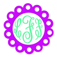 Doily Boarder Monogram Decal Add Personality to Christmas Gifts, Great personal Gift, Gift Wrap Option, Personalize So Many Things