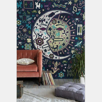 Moon Printed Exotic Wind Bedspread Wall Hanging Rectangle Tapestries 150*130CM 203cmx153cm Wall Carpet Home Decor