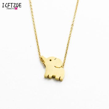 Loving Mother and Baby Elephant Necklace Silver Gold Color Stainless Steel Chain Gargantilha Choker Womens Necklaces Jewelry BFF