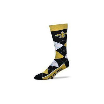 NFL New Orleans Saints Argyle Unisex Crew Cut Socks - One Size Fits Most