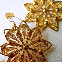 Large Gold Tone Flower/Star Earrings, Octagram, Textured Dangle, Pierced, Vintage