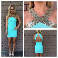 Mint & Gold Sequin Cross Over Open Back Dress