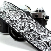 Paisley dSLR Camera Strap, Black, White, SLR