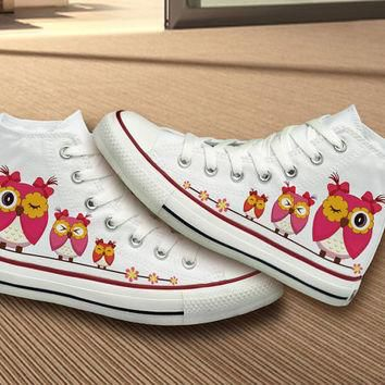 Black Converse Shoes With Owls