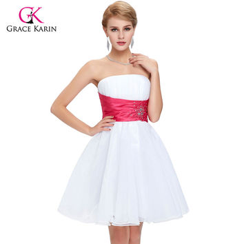 Short Cocktail Dresses Grace Karin 2017 Wedding Party Voile Tutu robe de Coctail Dress Luxury White Prom Dresses